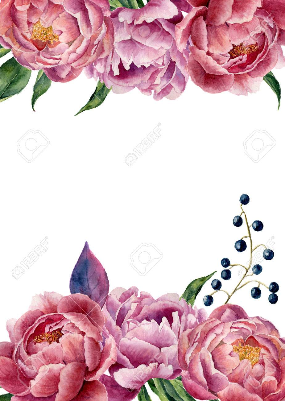 Watercolor floral wedding invitation. Hand drawn vintage frame with peony, leaves and berries. Isolated on white background. For design, card, print. - 65144880