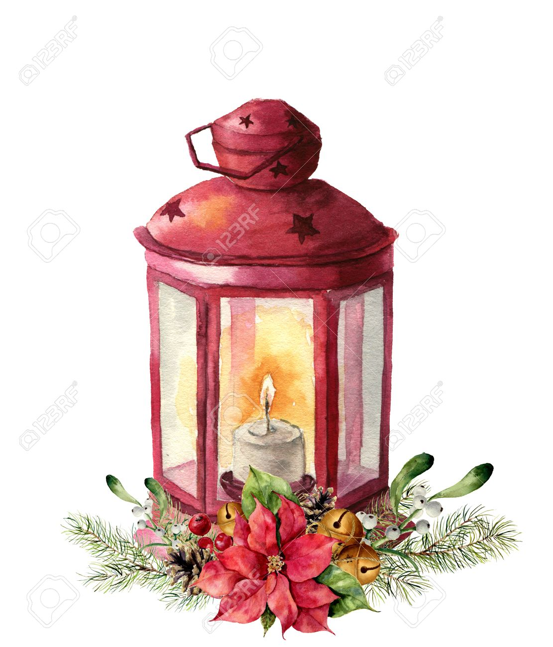 Christmas Lantern.Watercolor Traditional Red Lantern With Candle And Floral Decor