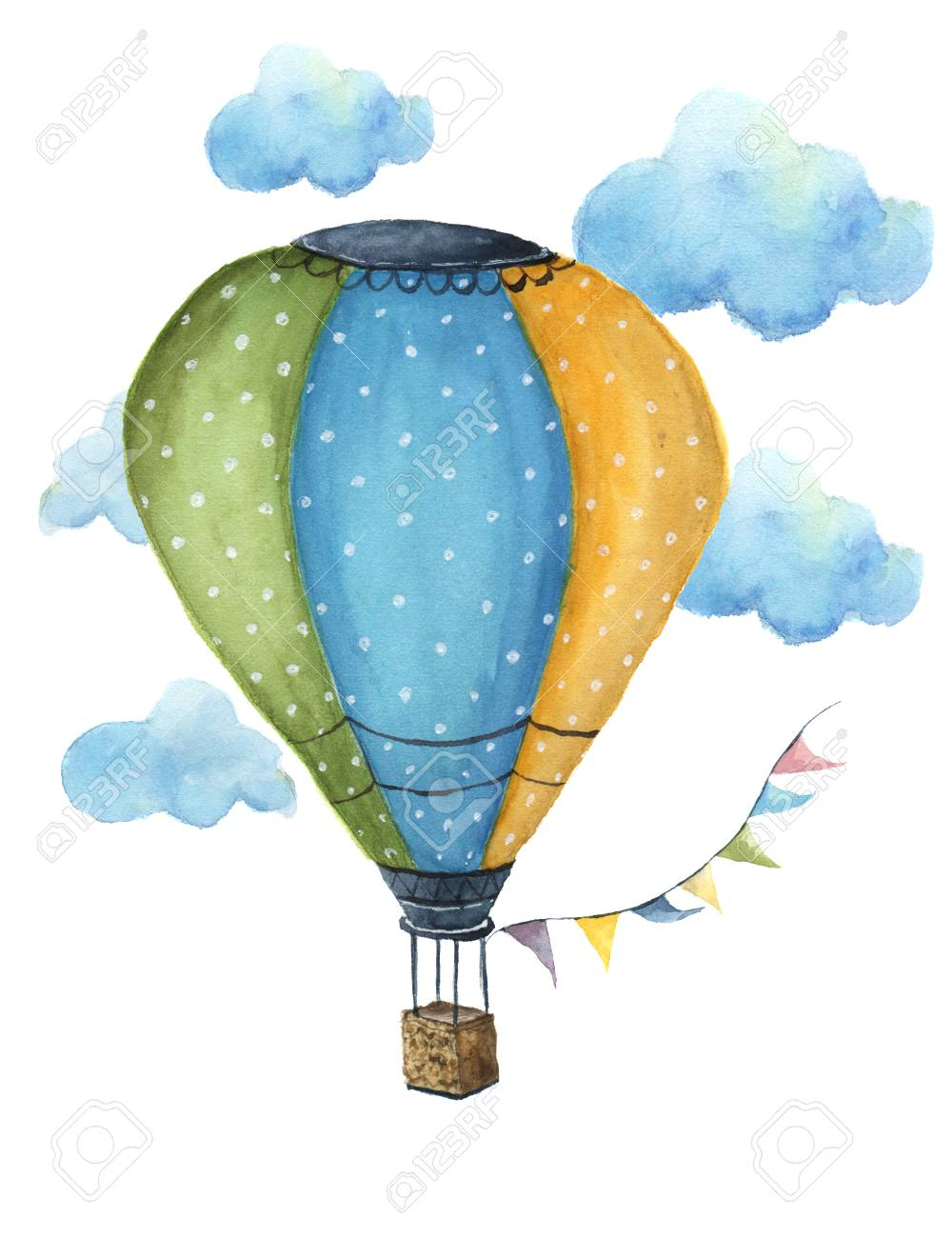 Watercolor hot air balloon set. Hand drawn vintage air balloons with flags garlands, clouds, polka dot pattern and retro design. Illustrations isolated on white background. For design, print and background - 65145305