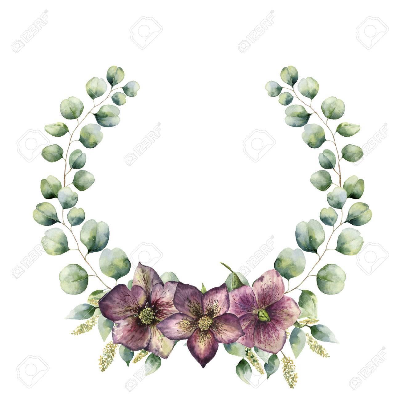 Aquarell Blumenkranz Mit Eukalyptus Und Nieswurz. Hand Bemalt ...