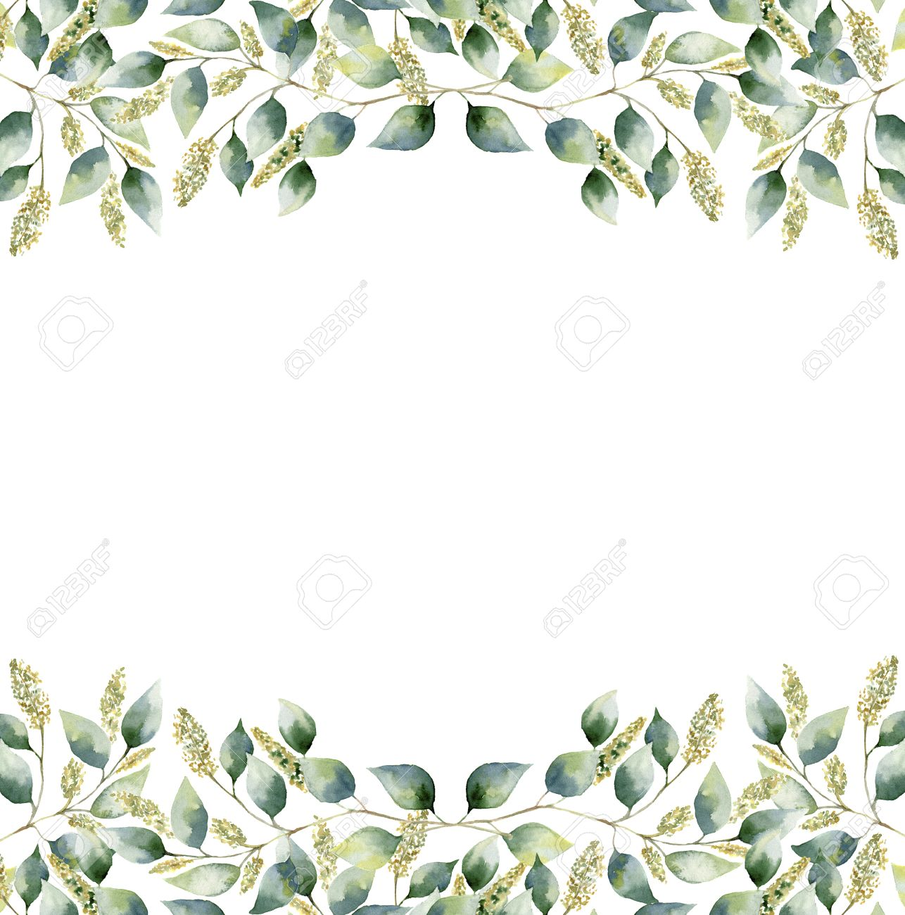 stock photo watercolor green floral frame card with seeded eucalyptus leaves hand painted border with branches and leaves of eucalyptus isolated on white