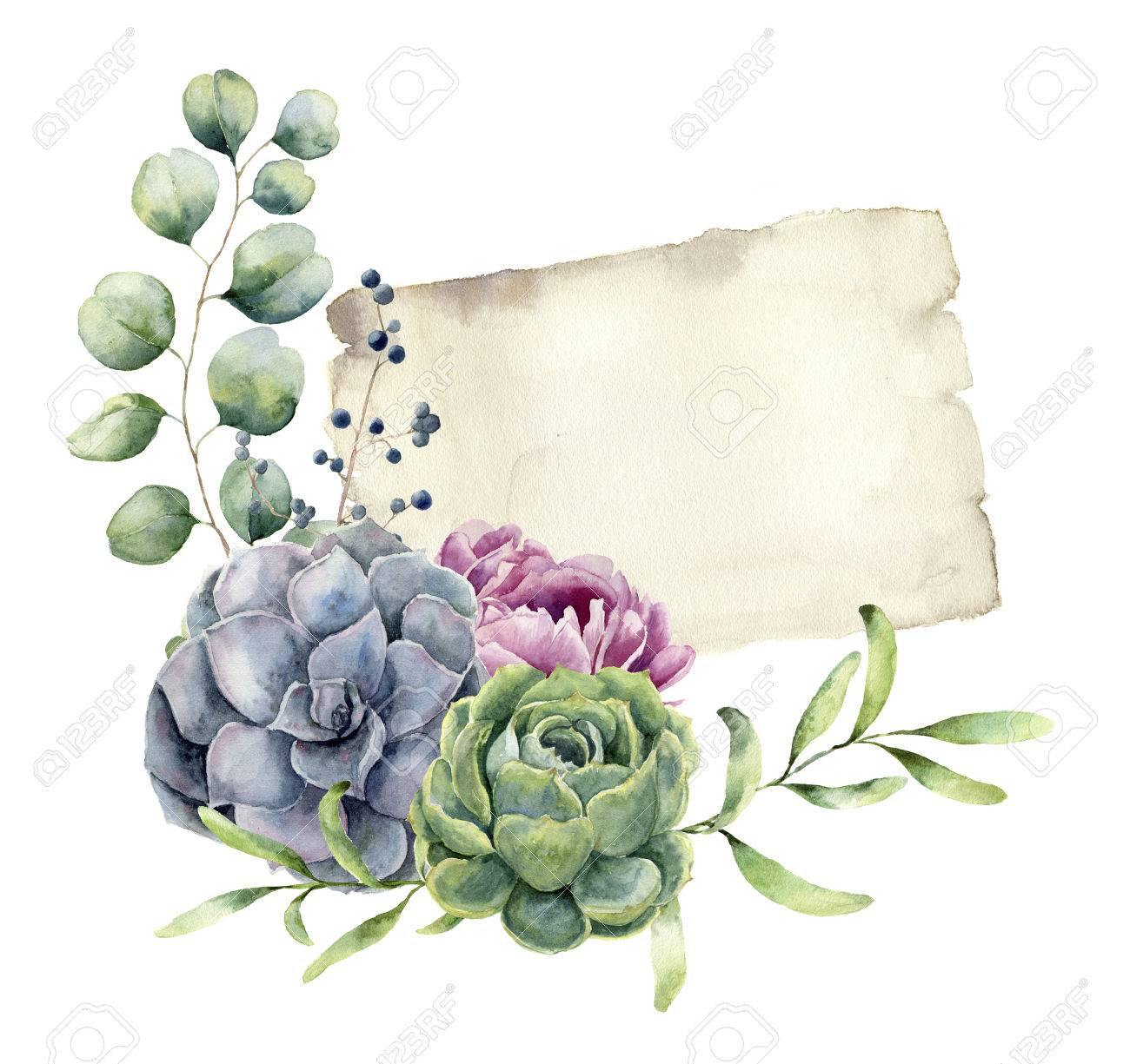 Watercolor spring card with floral design. Hand painted paper te - 71124129