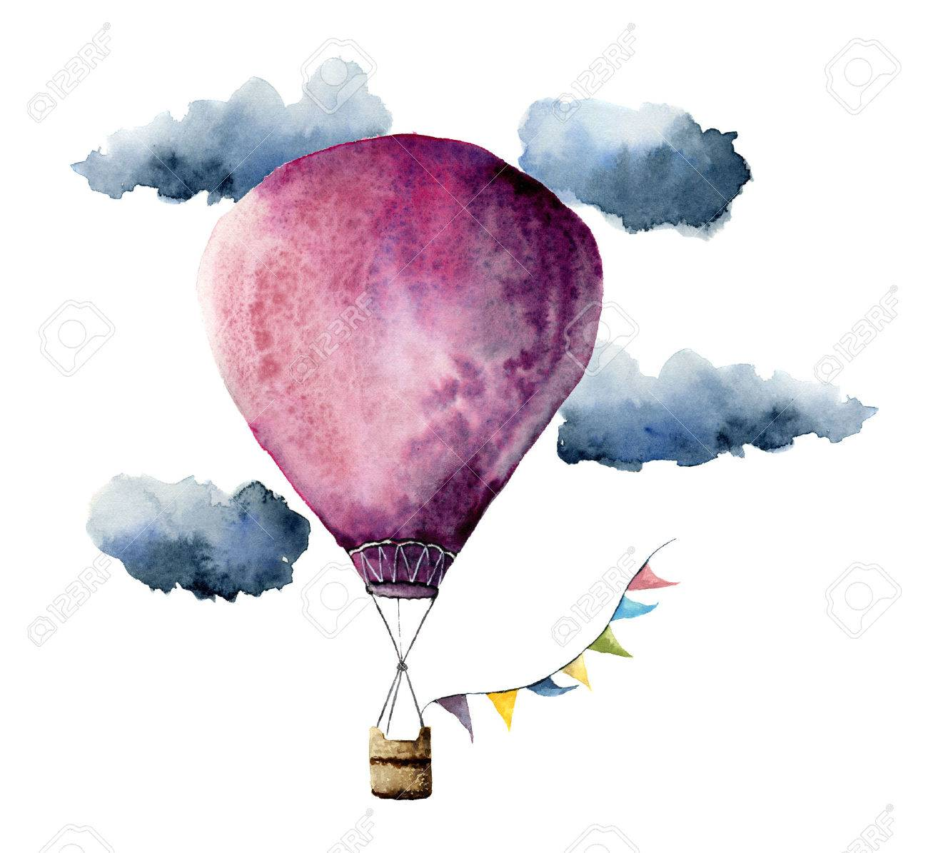 Watercolor violet hot air balloon. Hand painted vintage air balloons with flags garlands, clouds and retro design. Illustrations isolated on white background - 71124136