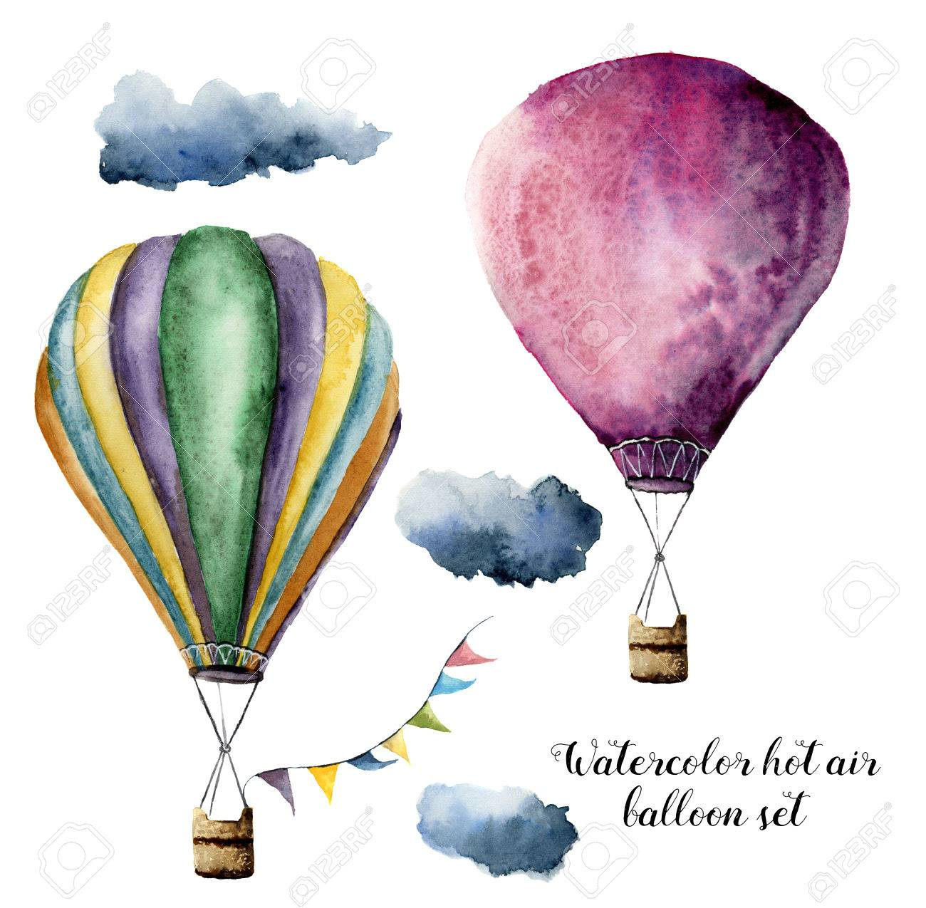 Watercolor hot air balloon set for design. Hand painted vintage air balloons with flags garlands and clouds. Illustrations isolated on white background - 71124137