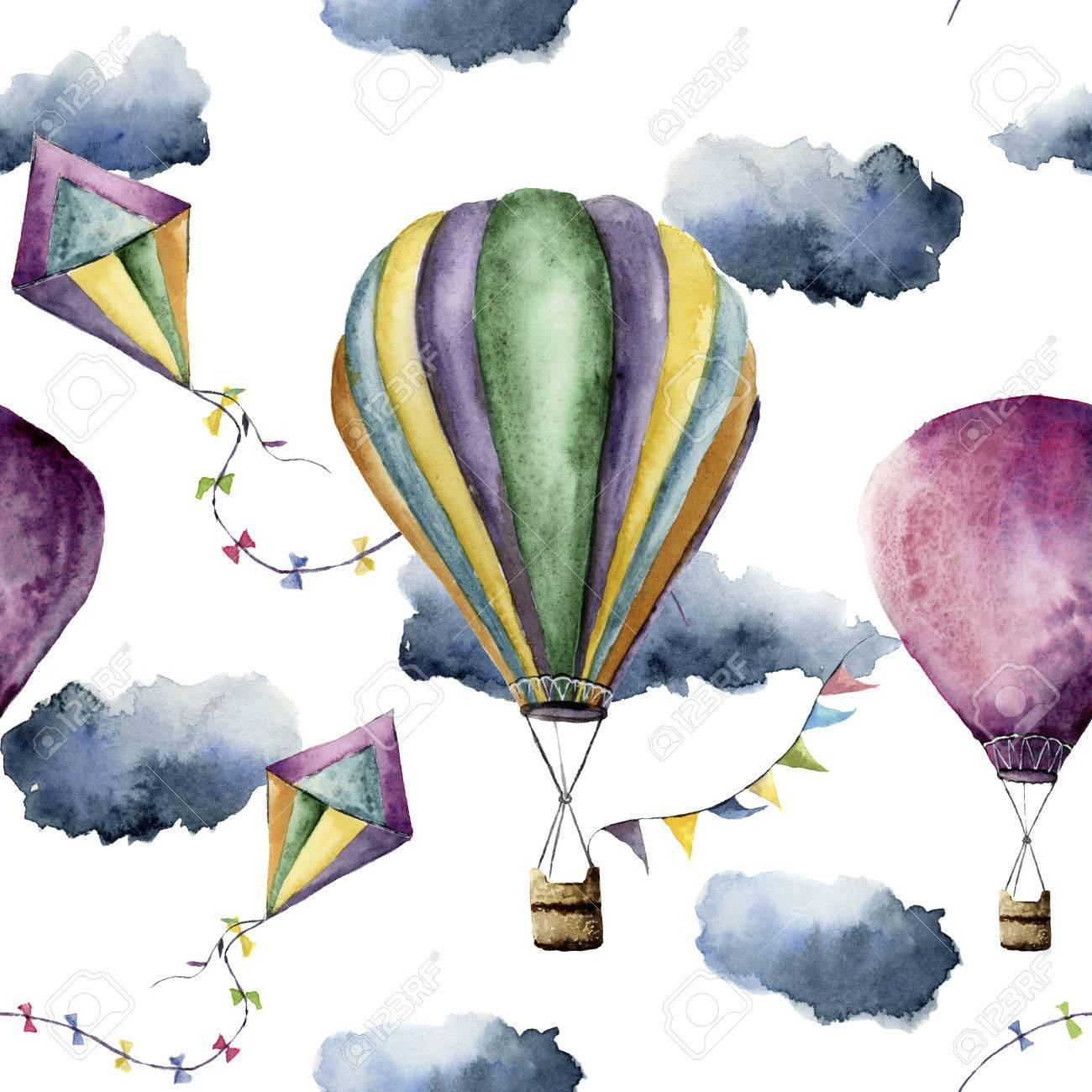 熱気球とカイトと水彩のパターン描かれたヴィンテージ凧フラグ花輪