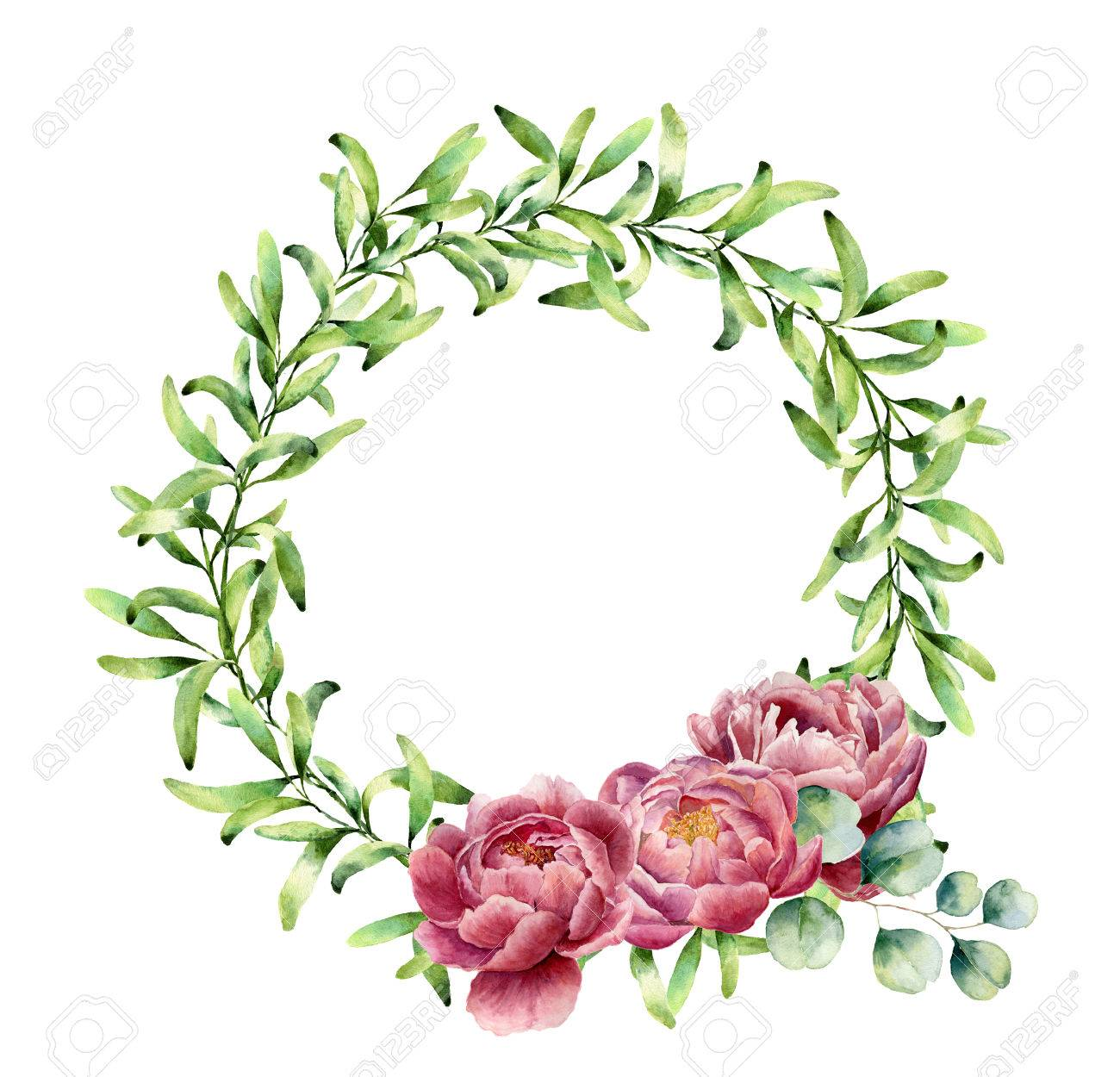 Watercolor Greenery Wreath With Peony Flowers And Eucalyptus Stock