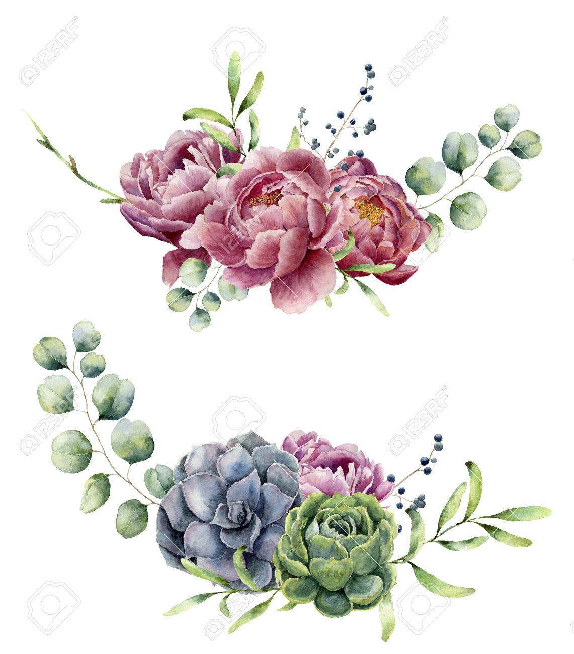 Watercolor floral composition isolated on white background. Vintage style posy set with eucalyptus branches, succulents, peony ,berries, greenery and leaves. Flower hand painted design - 71124636