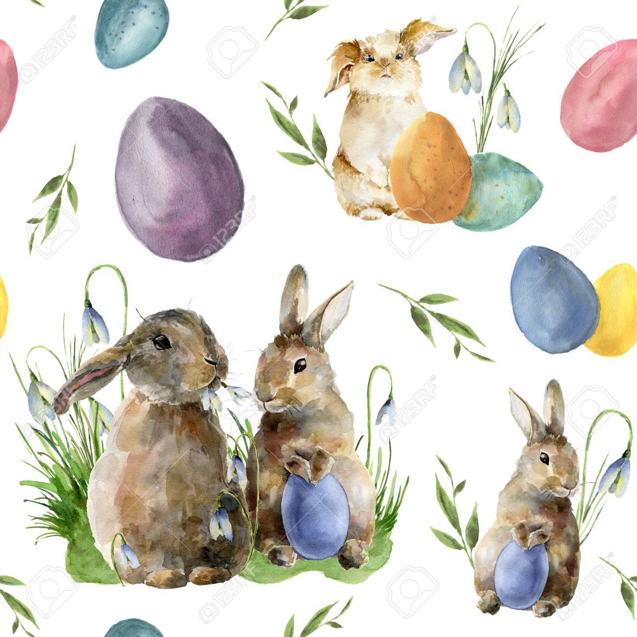 Watercolor easter pattern with rabbit and egg. Holiday ornament with bunny, colored eggs and snowdrops isolated on white background. Nature illustration for design or fabric. - 73394065