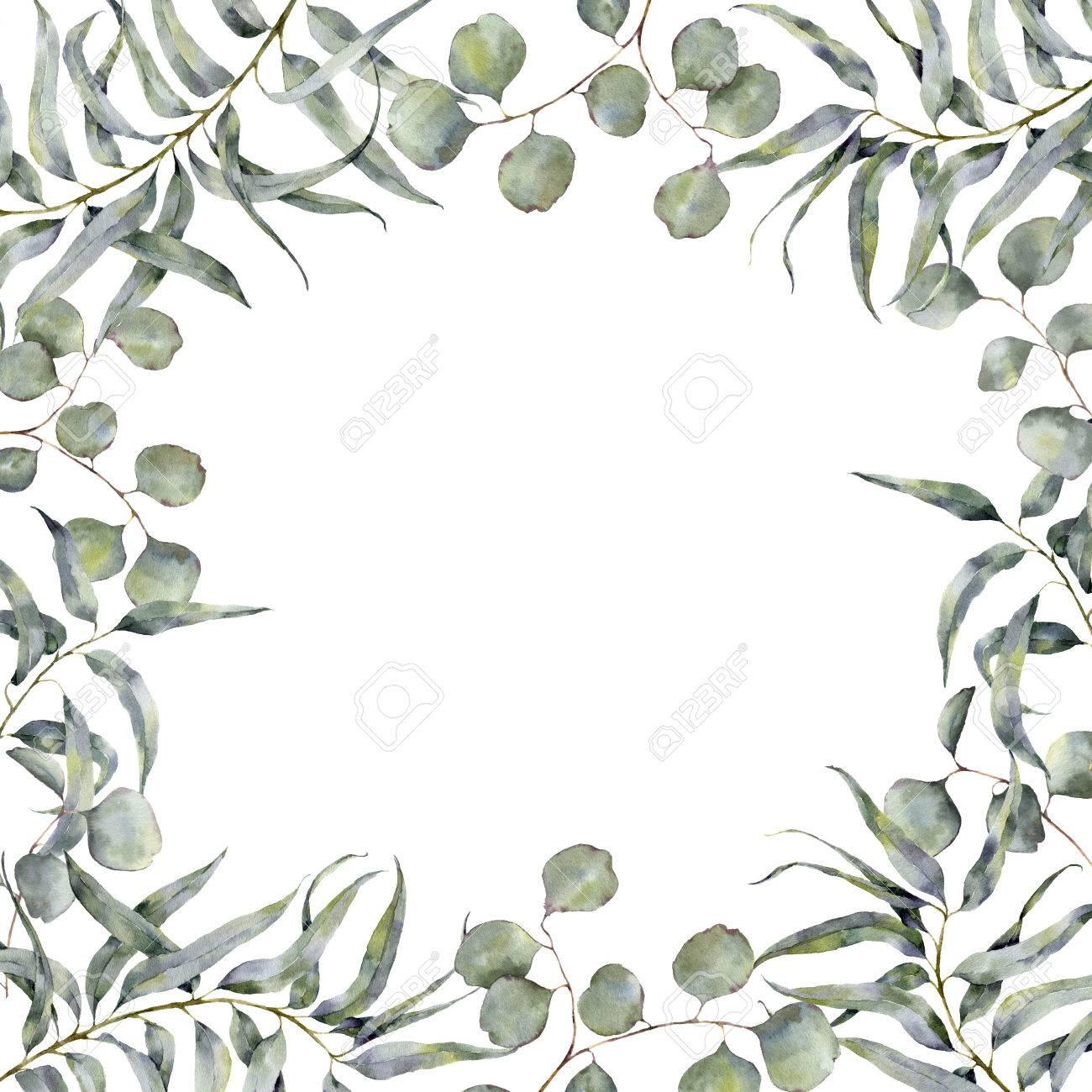 bordure aquarelle avec branche d'eucalyptus. cadre floral peint à la