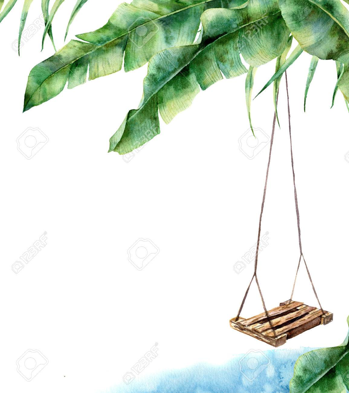 Watercolor tropical card with swing. Hand painted porch swing on banana palm isolated on white background. Tropical print for design, print or background - 80057894