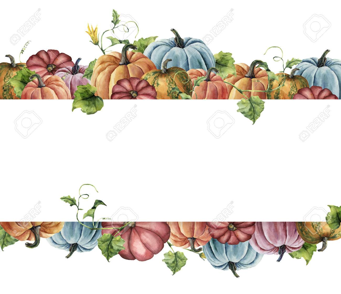Watercolor autumn harvest card. Hand painted border with bright pumpkins with leaves and flowers isolated on white background. Botanical illustration for design - 83349172
