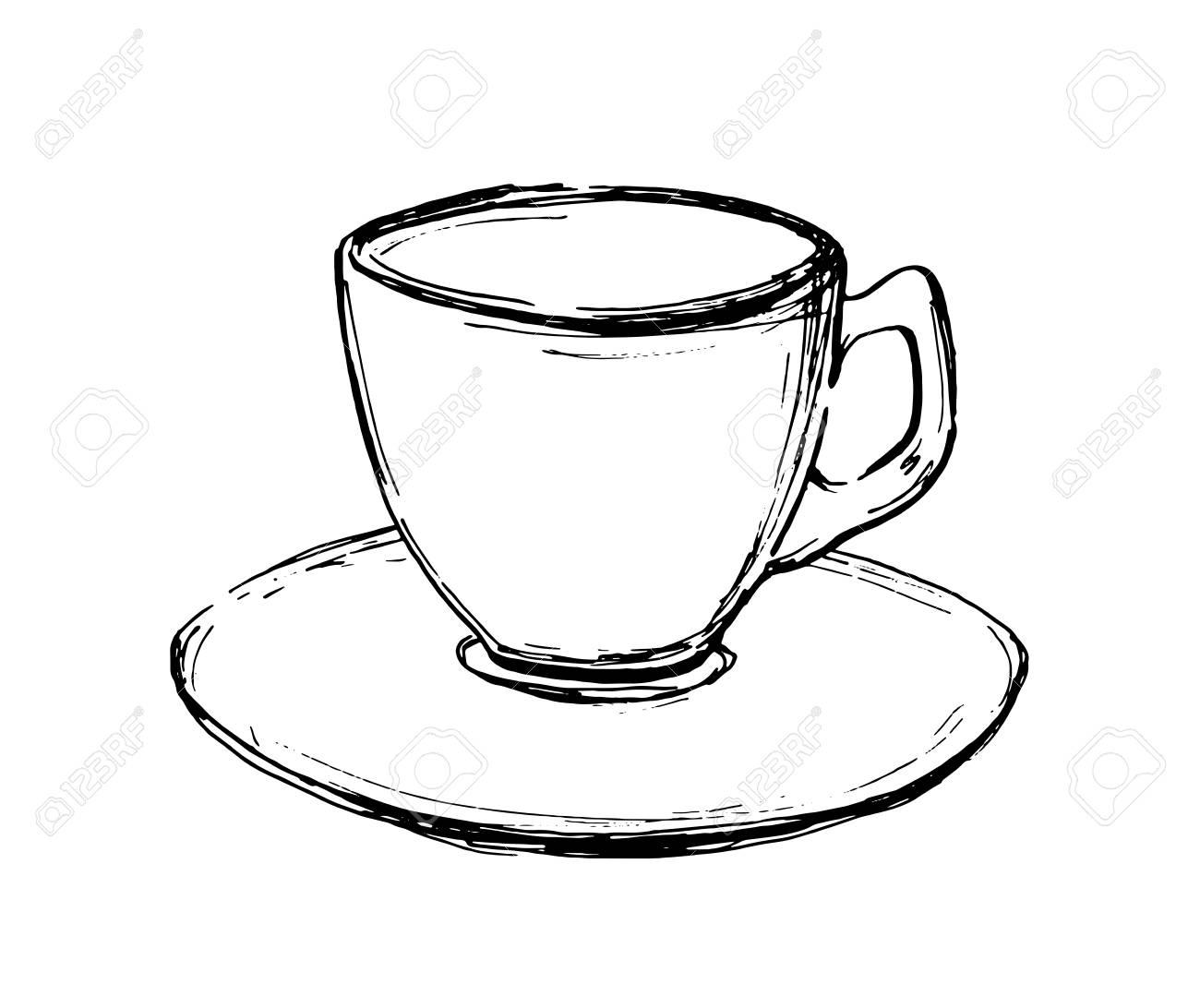Vektor Hand Gezeichnete Skizze Kaffeetasse Illustration Für Design