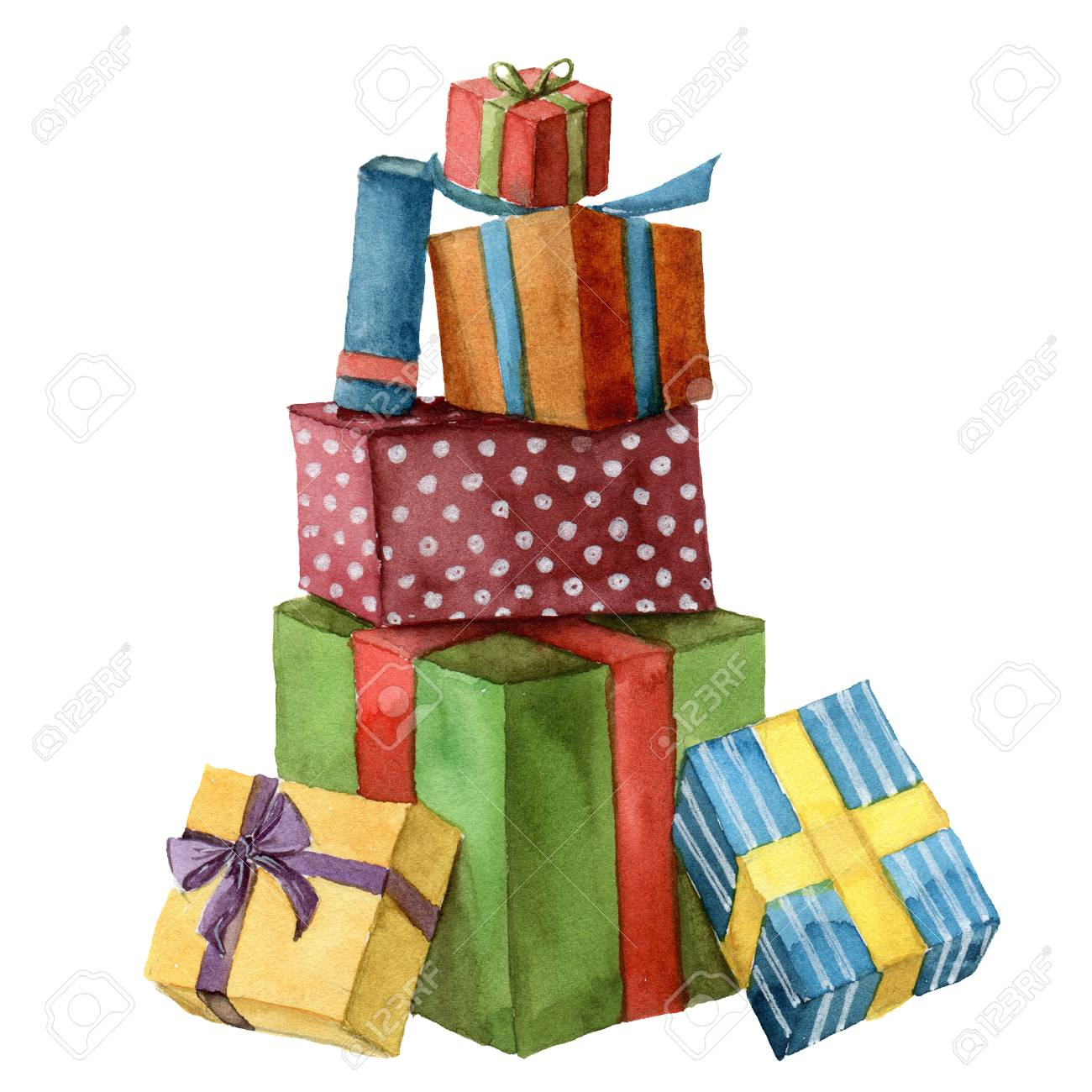 Watercolor christmas presents hand painted bright gift boxes hand painted bright gift boxes with ribbon isolated on white background negle Gallery