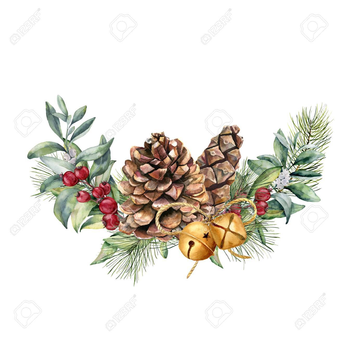 Watercolor winter floral composition. Hand painted snowberry and fir branches, red berries with leaves, pine cone, bells isolated on white background. Christmas illustration for design, print. - 89093301