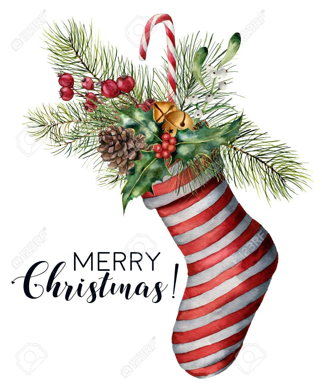 Watercolor Merry Christmas card with decor. Hand painted Christmas striped sock with fir branch, pine cone, holly, mistletoe, candy, bells and berries isolated on white background. Holiday print. - 90094448