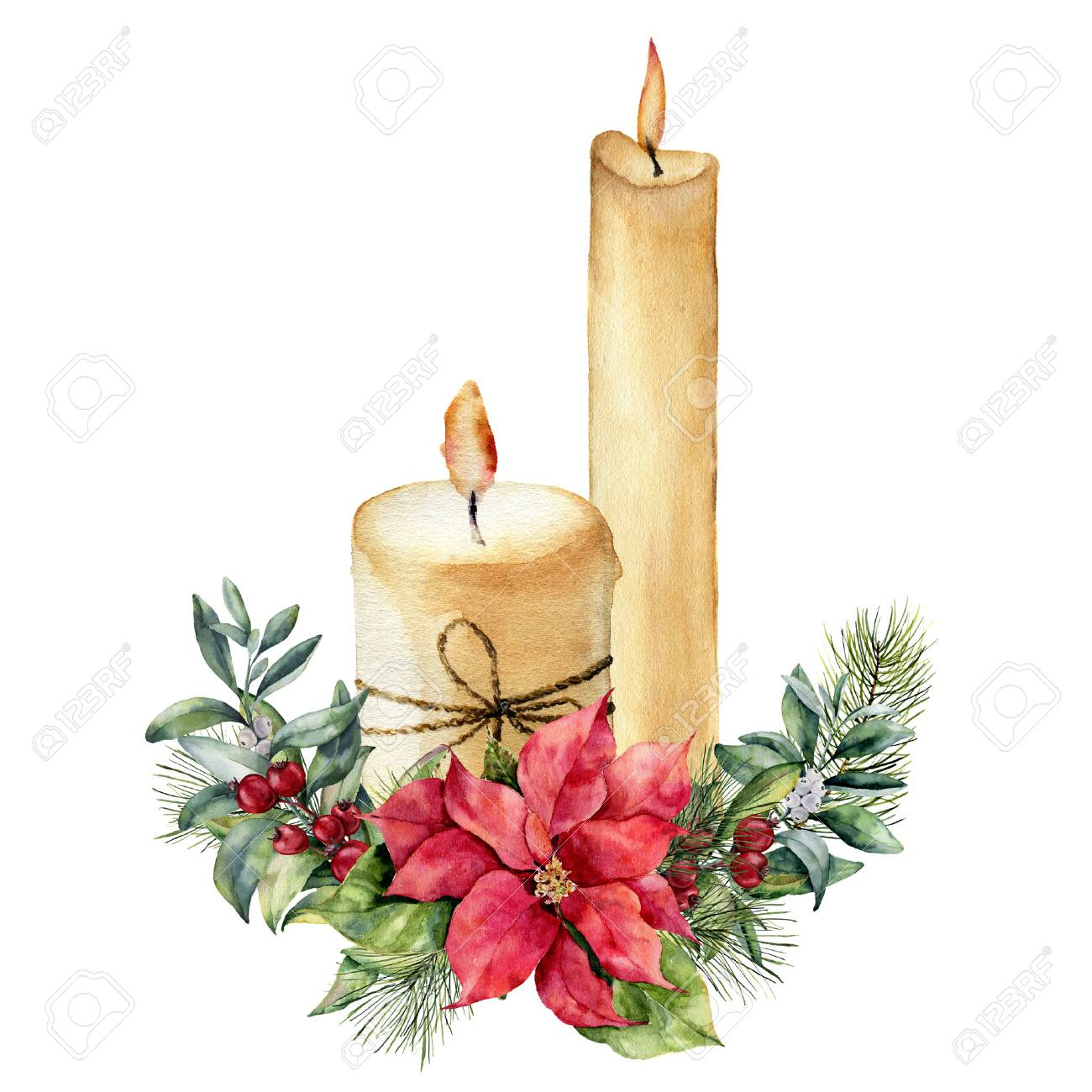 Watercolor candles with Christmas floral composition. - 90682177