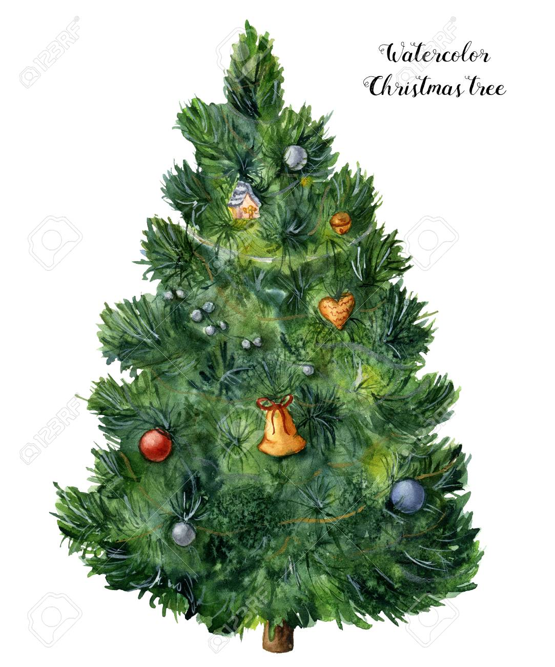 Watercolor Christmas tree. Hand painted pine tree with toys, bells and garlands isolated on white background. Holiday symbol. For design or print. - 91425759