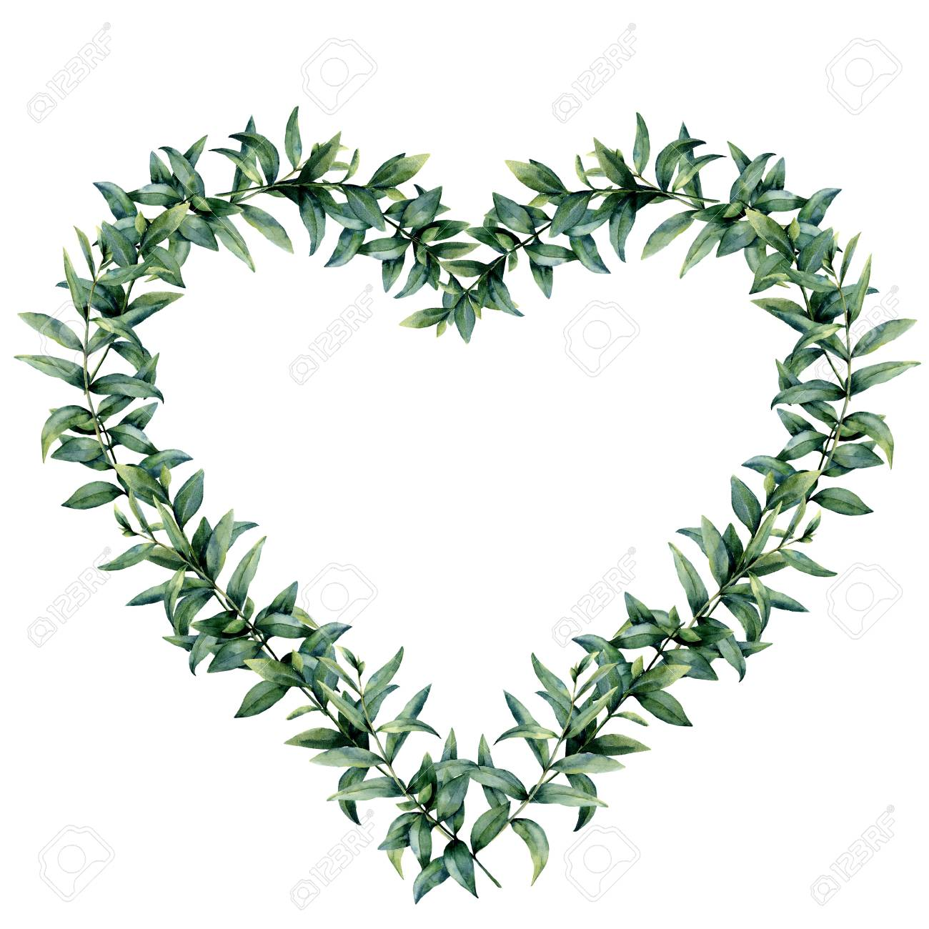 Watercolor eucalyptus heart wreath. Hand painted border with eucalyptus branch and leaves isolated on white background. Botanical illustration for design. Valentines Day print. - 93474207