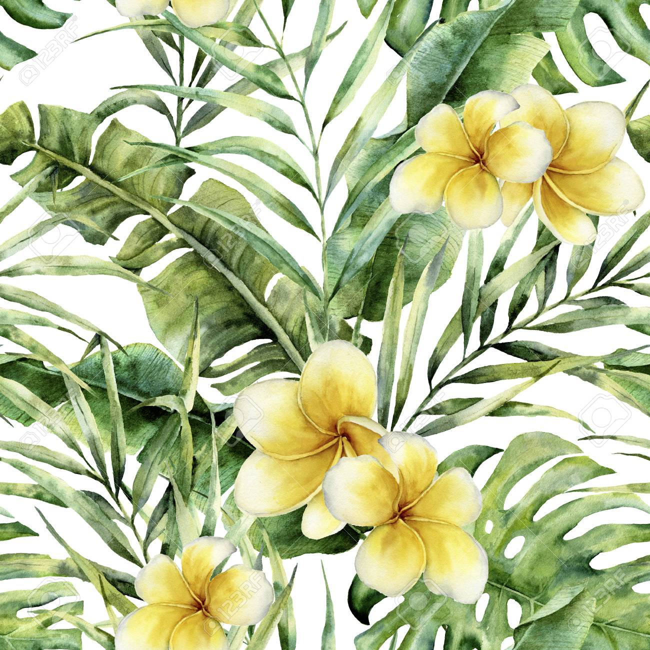 Watercolor Pattern With Plumeria Palm Tree Leaves Hand Painted Stock Photo Picture And Royalty Free Image Image 94320626