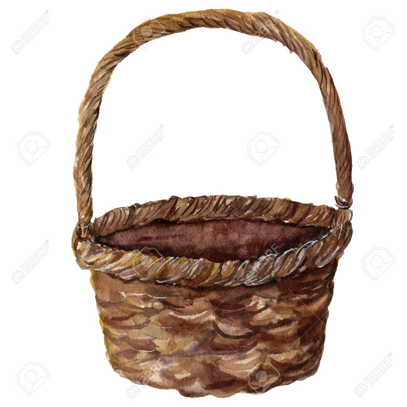 e26b5e96aa53 Watercolor straw basket. Hand painted wicker pad isolated on white  background. Realistic illustration for
