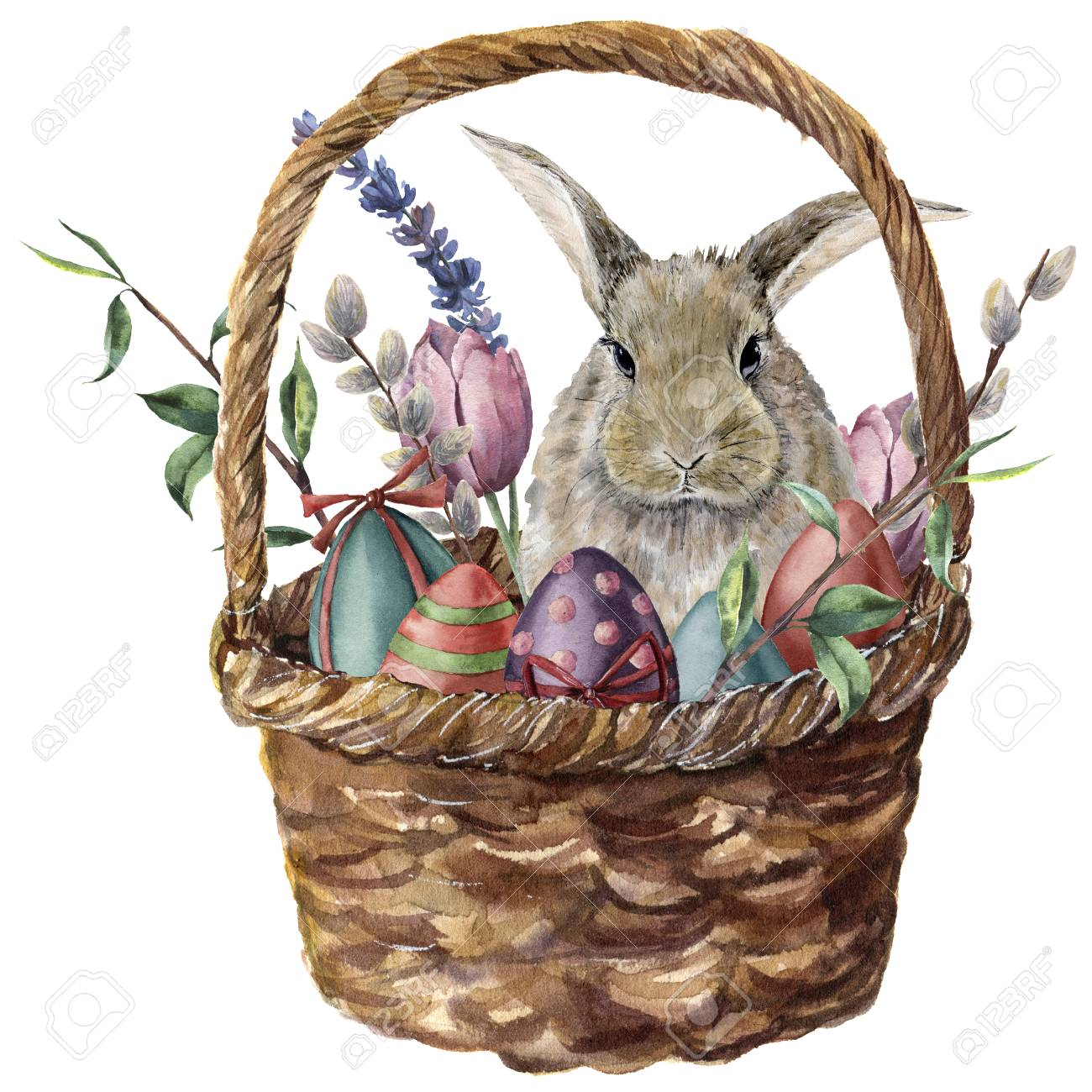 Watercolor easter card. Hand painted basket with colored eggs, bunny, lavender, tulip, willow and tree branch isolated on white background. Holiday print for design. - 96654819