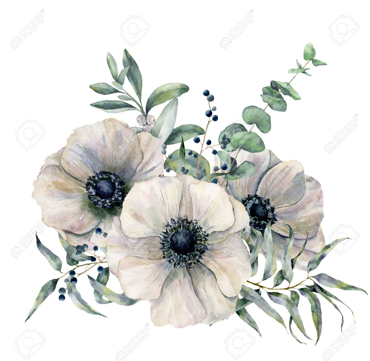 Watercolor white anemone bouquet. Hand painted flower, eucalyptus leaves and juniper isolated on white background. Illustration for design, fabric, print or background. - 99944526