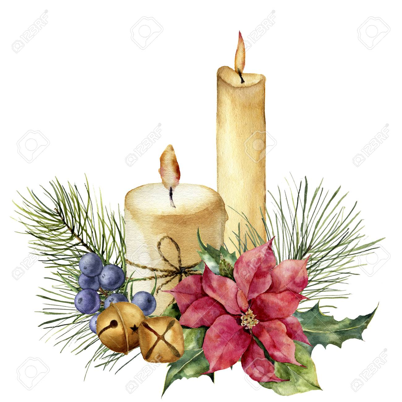 Watercolor Christmas candles with holiday decor. Hand painted floral composition with leaves, poinsettia, bells, juniper berries isolated on white background. Botanical illustration for design. - 100769267