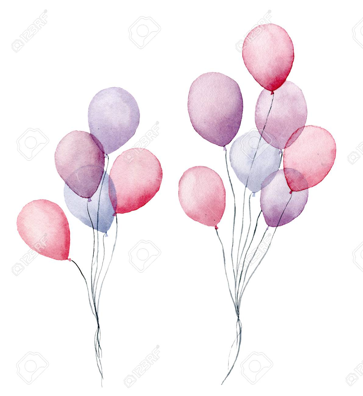 Watercolor air balloons. Hand painted pack of party pink, blue, purple balloons isolated on white background. Greeting decor - 105292524