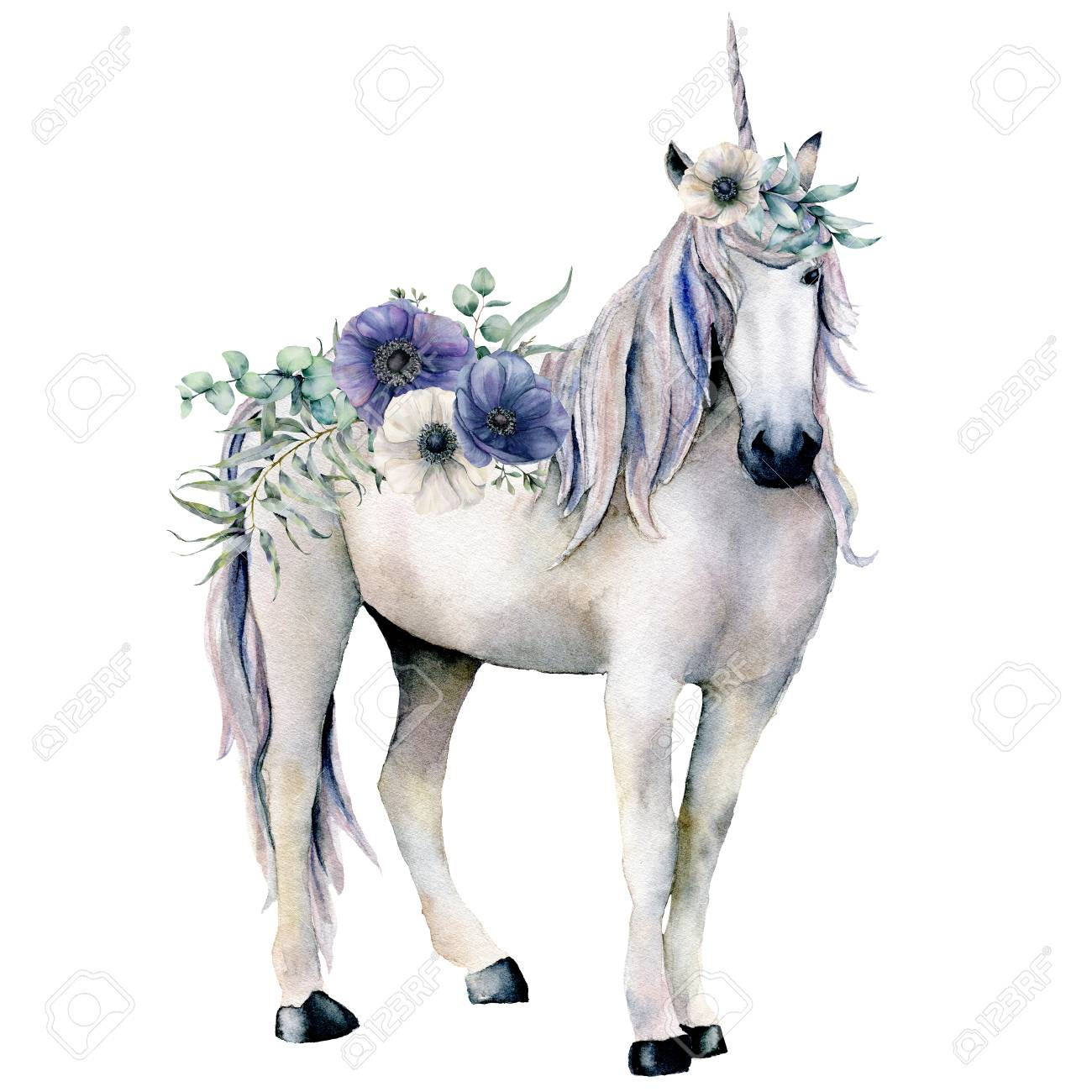 Watercolor Elegant White Unicorn With Anemone Flowers Bouquet Stock Photo Picture And Royalty Free Image Image 110039114