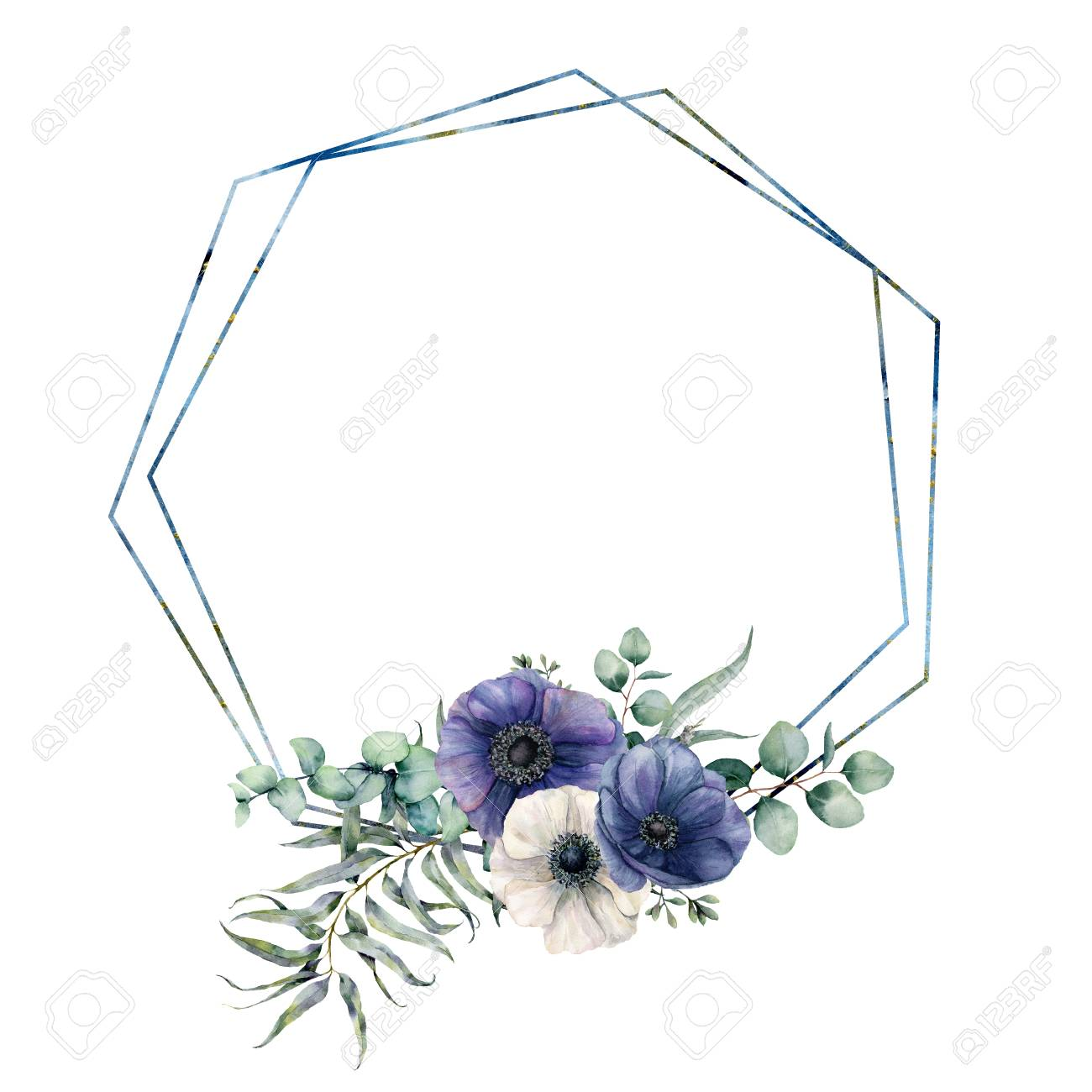Watercolor hexagonal frame with blue anemone bouquet. Hand drawn modern floral label with eucalyptus leaves and branches, flowers isolated on white background. Greeting template for design, print - 116175062
