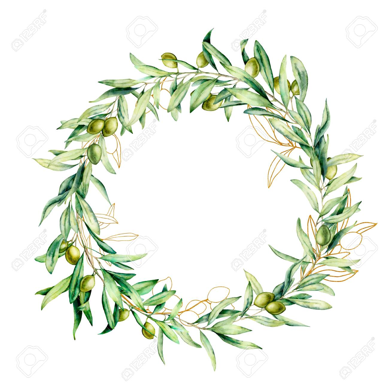 Watercolor wreath with green and golden olive berries. Hand painted floral border with olive fruit and tree branches with leaves isolated on white background. For design, print and fabric. - 121767307