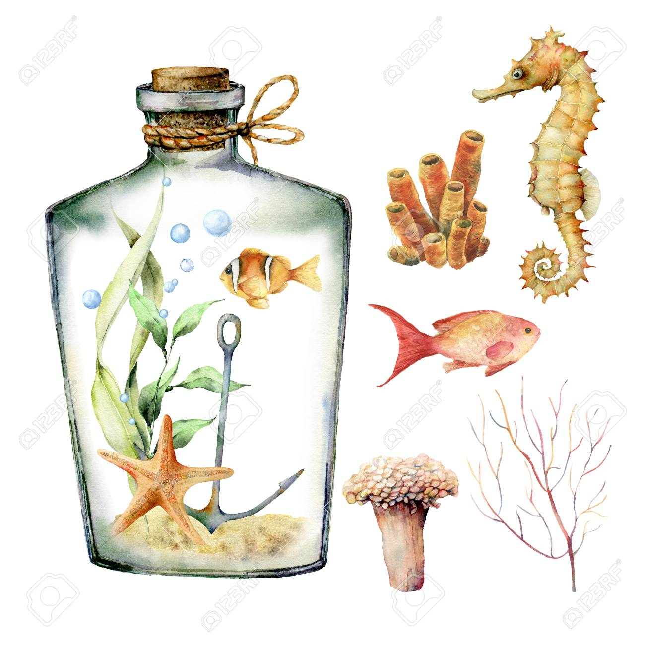 Watercolor Aquarium With Coral Animals Plants And Fish Hand Stock Photo Picture And Royalty Free Image Image 125236581