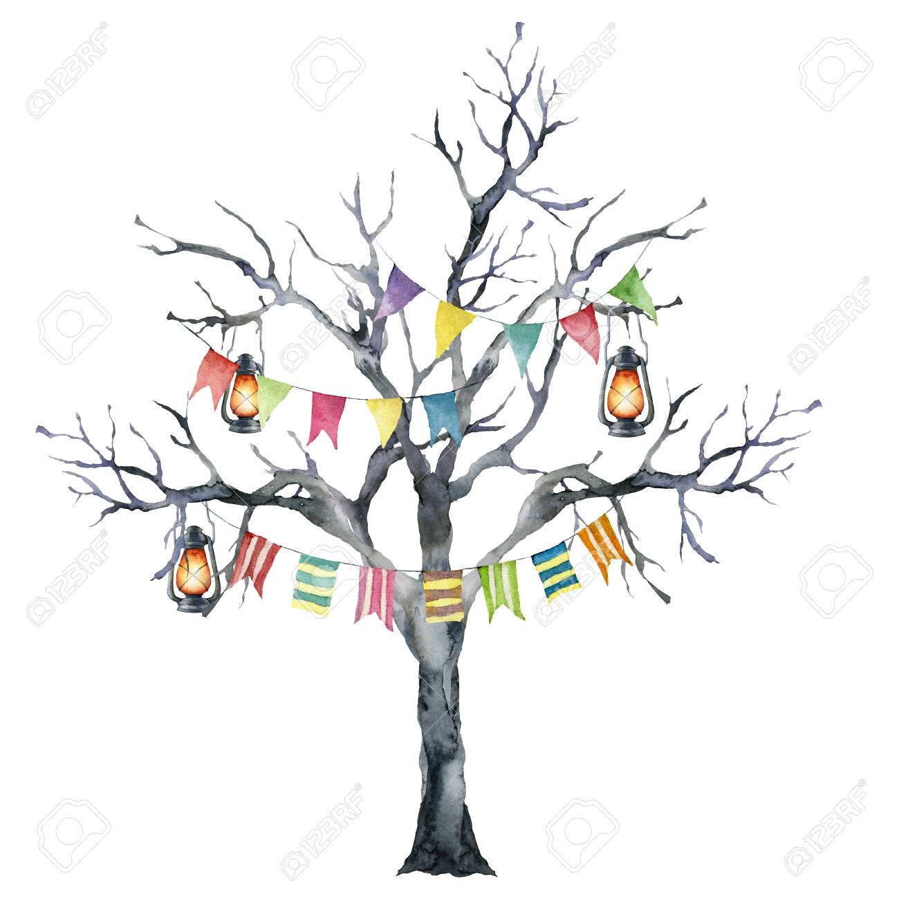 Watercolor Halloween Card With Black Tree And Flag Garland Hand Stock Photo Picture And Royalty Free Image Image 130031067