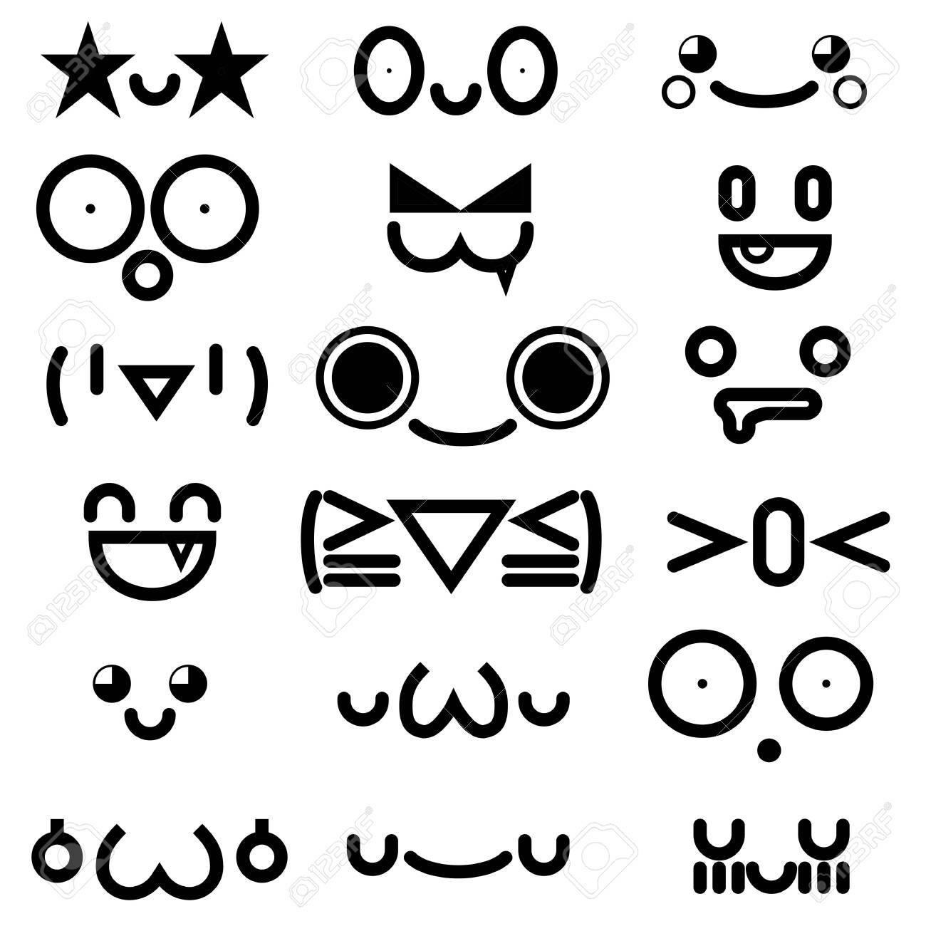 cute kawaii emoticon face collection isolated on white background. - 158438306