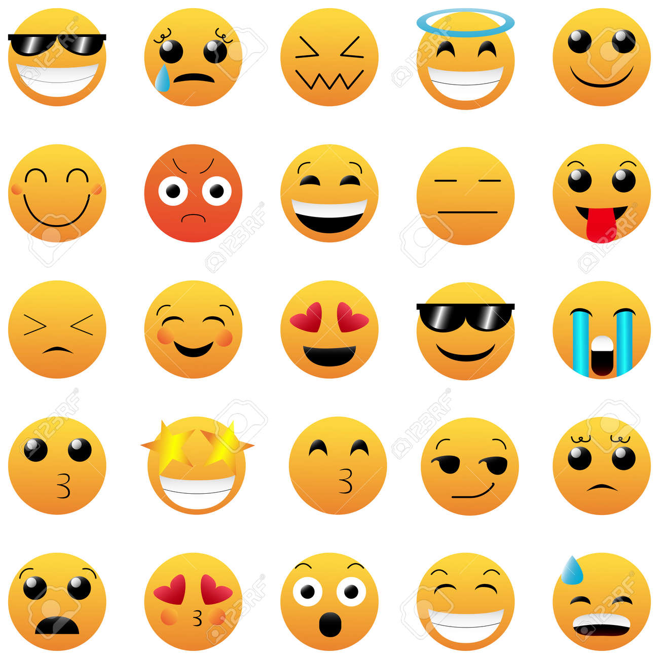 Set of Cute Emoticons on White Background. Isolated Vector Illustration. - 159991723