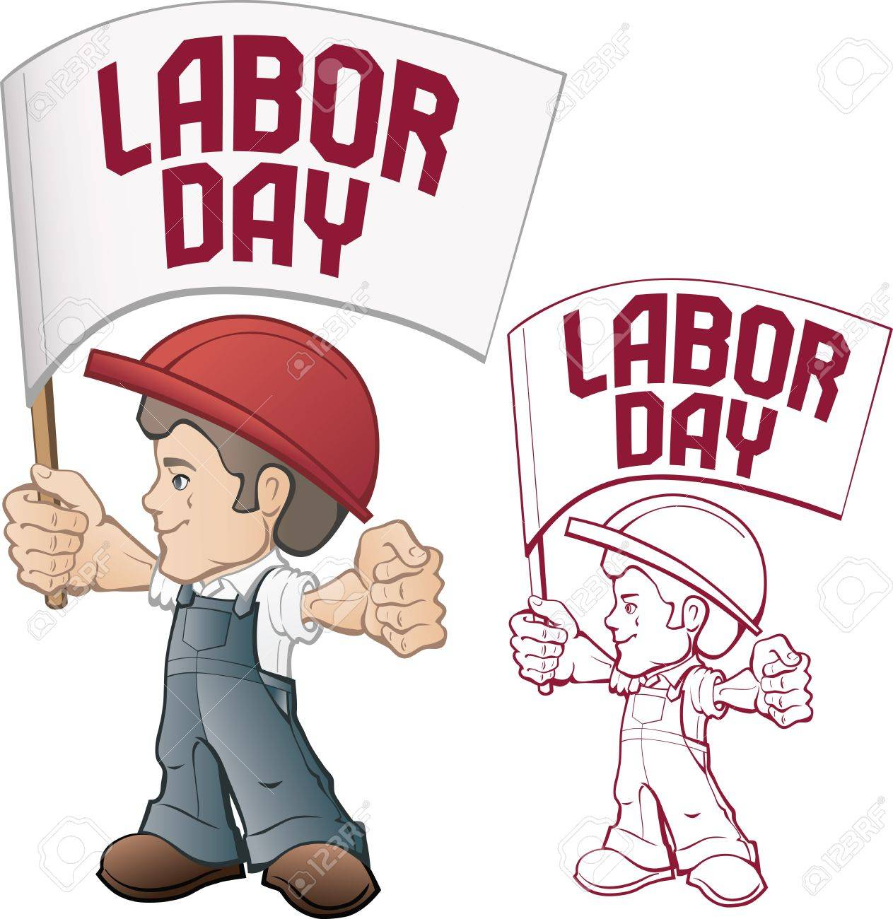 Banner  for Labor day sale with cartoon style  worker in bib overall and hard hat with hummer in rased hand, vintage style in dull color  vertical end horizontal composition with rounded corner Stock Vector - 15915264