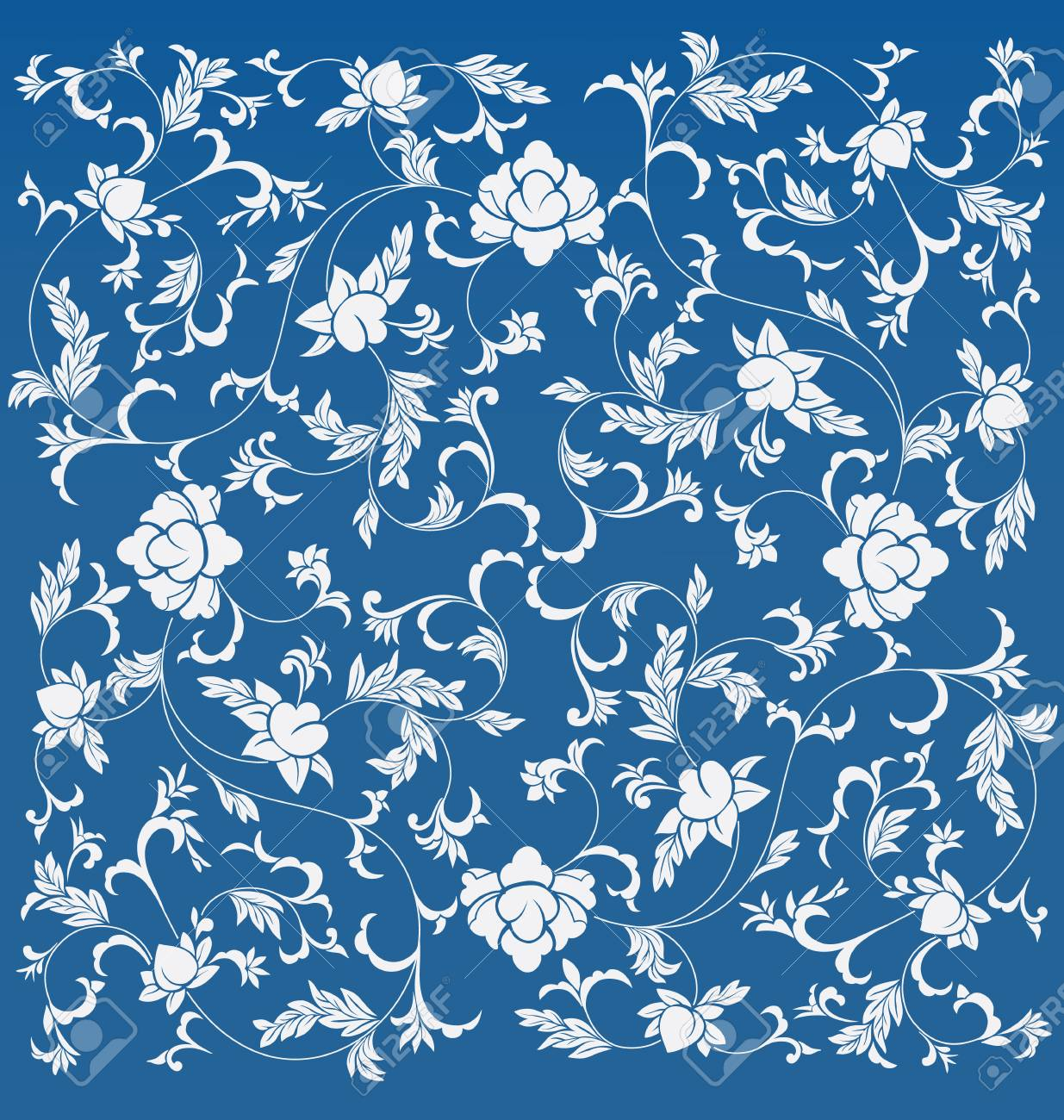 Background Design With Floral Chinese Oriental Pattern Royalty
