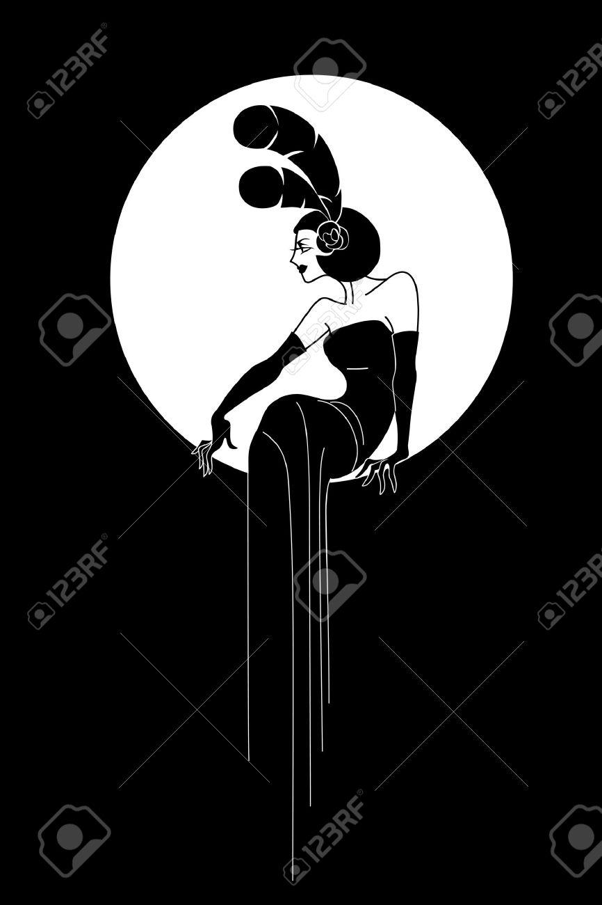 Poster design monochrome - Art Deco Style Poster Design Woman Silhouette Elegant Fashion Style Stock Vector 34945243