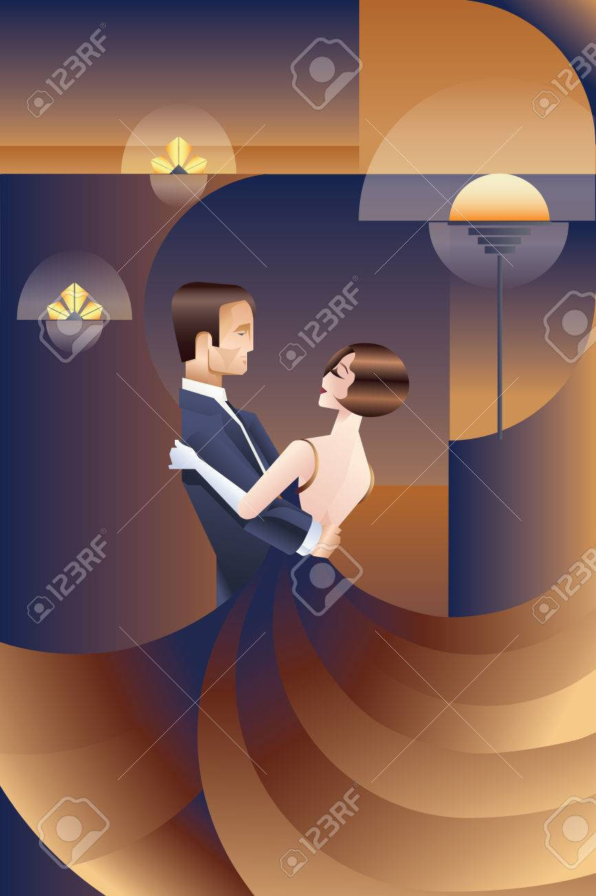 Vector vintage art deco placard design with dancing couple