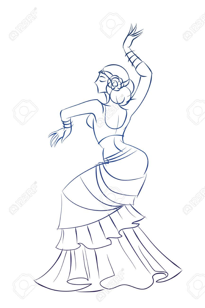 Gesture Sketch Line Drawing Of Belly Dancing Woman Royalty Free Cliparts Vectors And Stock Illustration Image 49597809