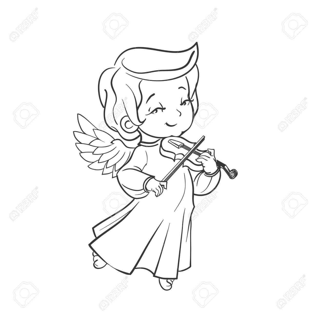 Nettes Lächelndes Baby-Engel Musik Plaing Violine. Vektor ...