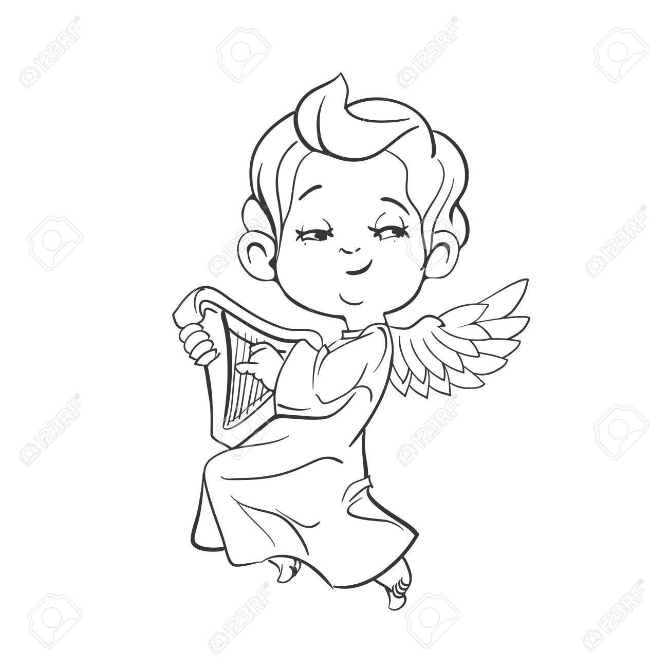 Nettes Lächelndes Baby-Engel Musik Plaing Harfe. Vektor-Illustration ...