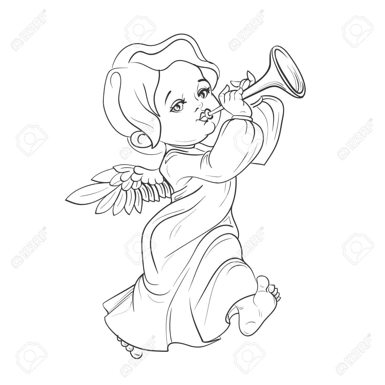 Das Nette Lächeln Kleinkind-Engel Musik Die Trompete Zu Spielen ...