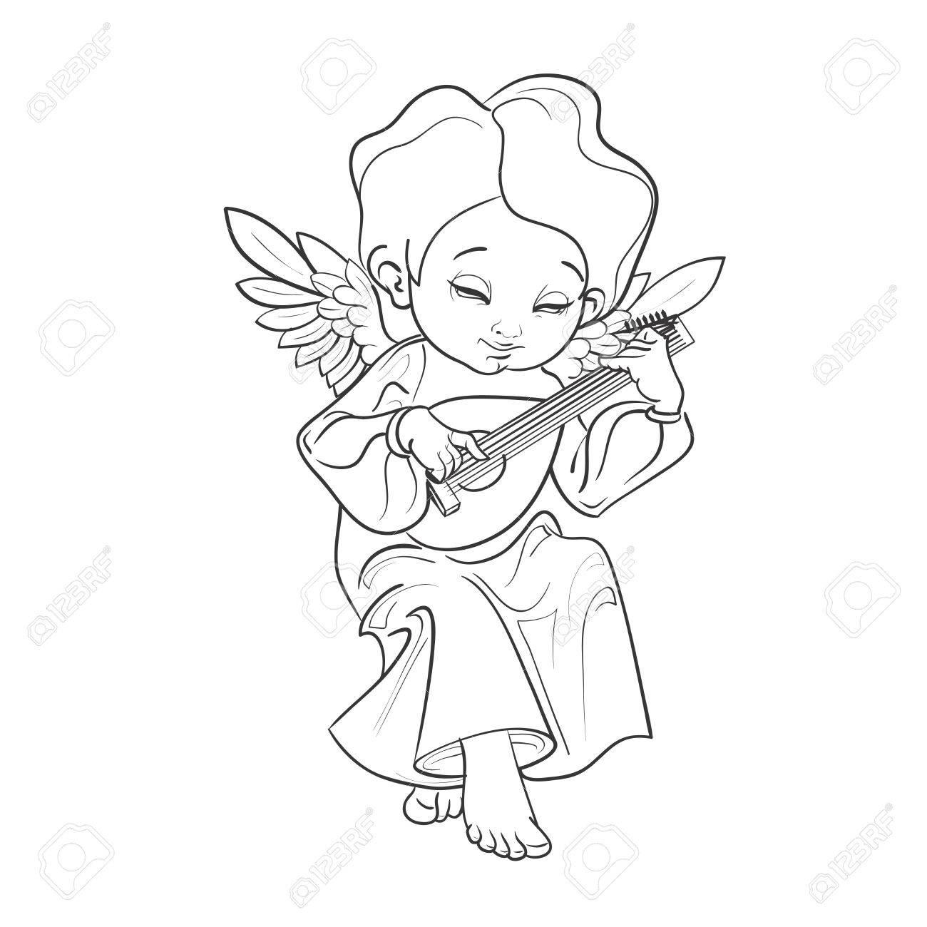 かわいい笑顔の幼児の天使リュートを演奏する音楽を作るしますベクトル