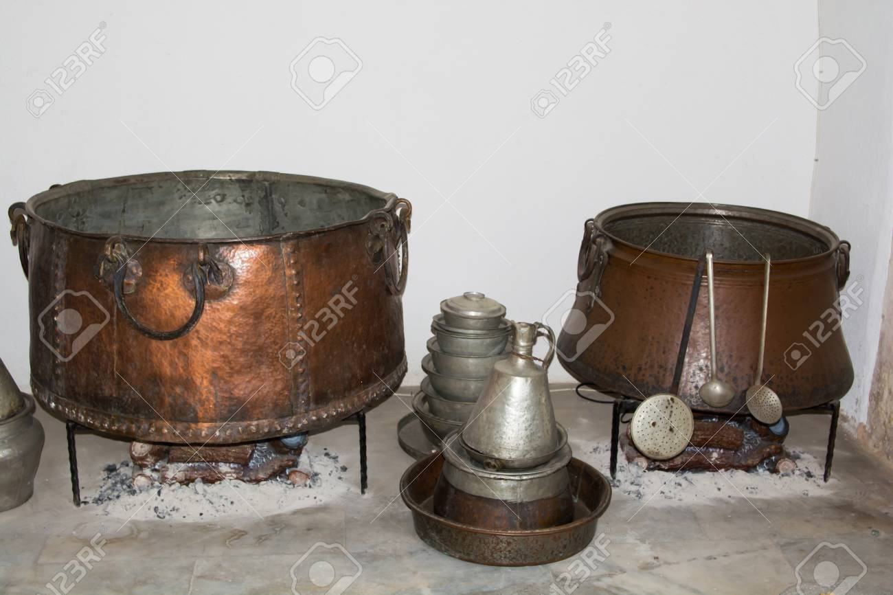 historical turkish kitchen wares boiler pots bucket ewer stock photo - Kitchen Wares