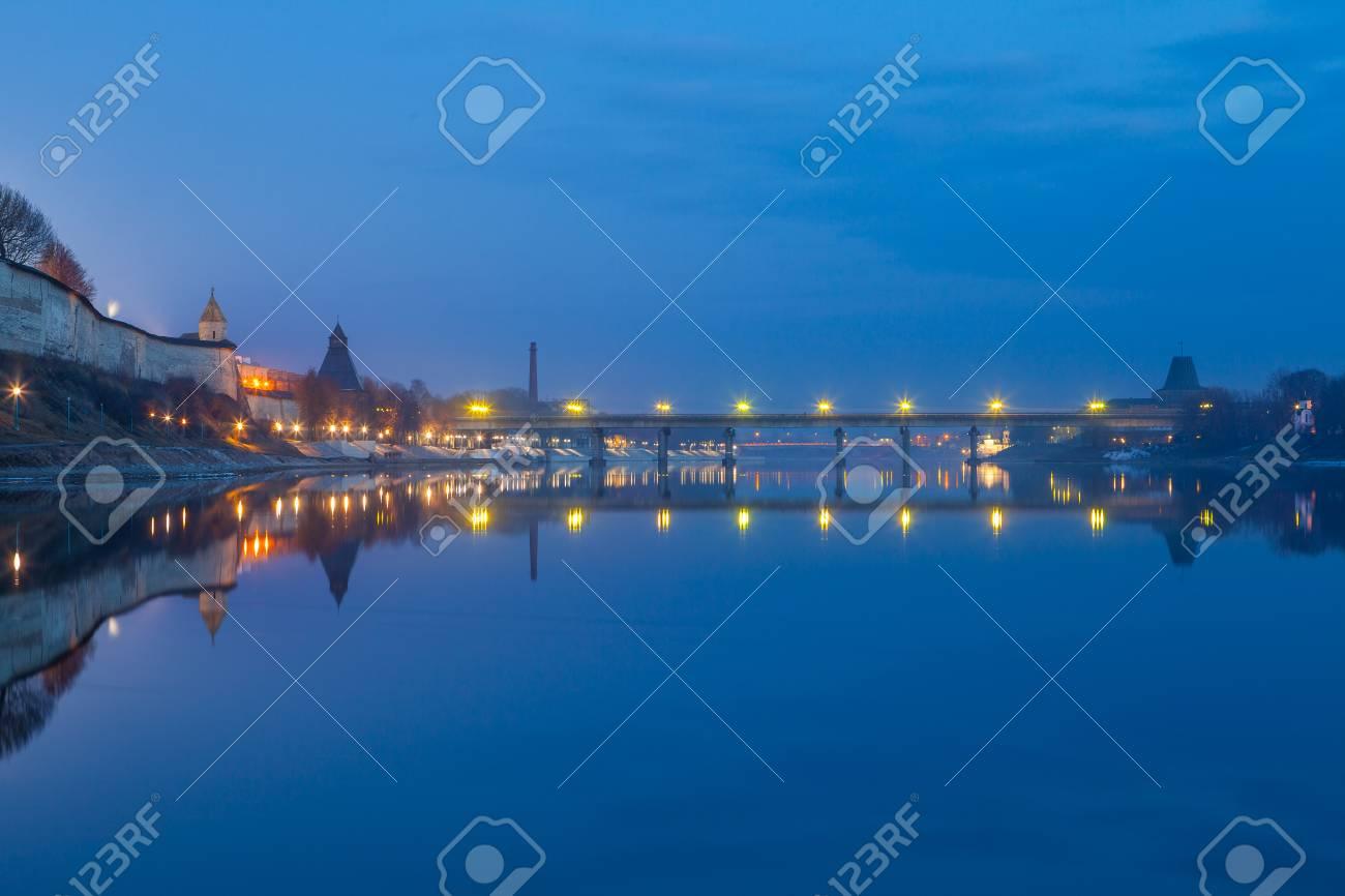 Pskov The Bridge Over The Velikaya River Night Lights Stock Photo
