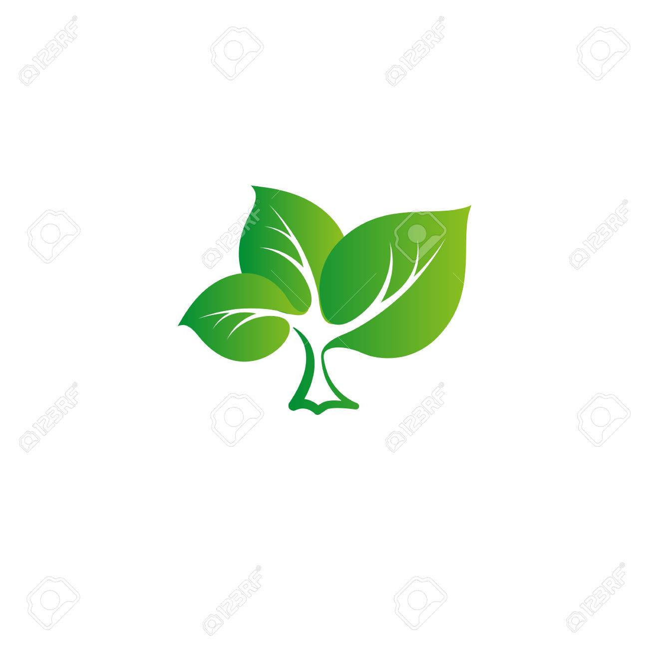 Isolated Abstract Green Color Tree Vector Logo. Leaves On A Strong ...