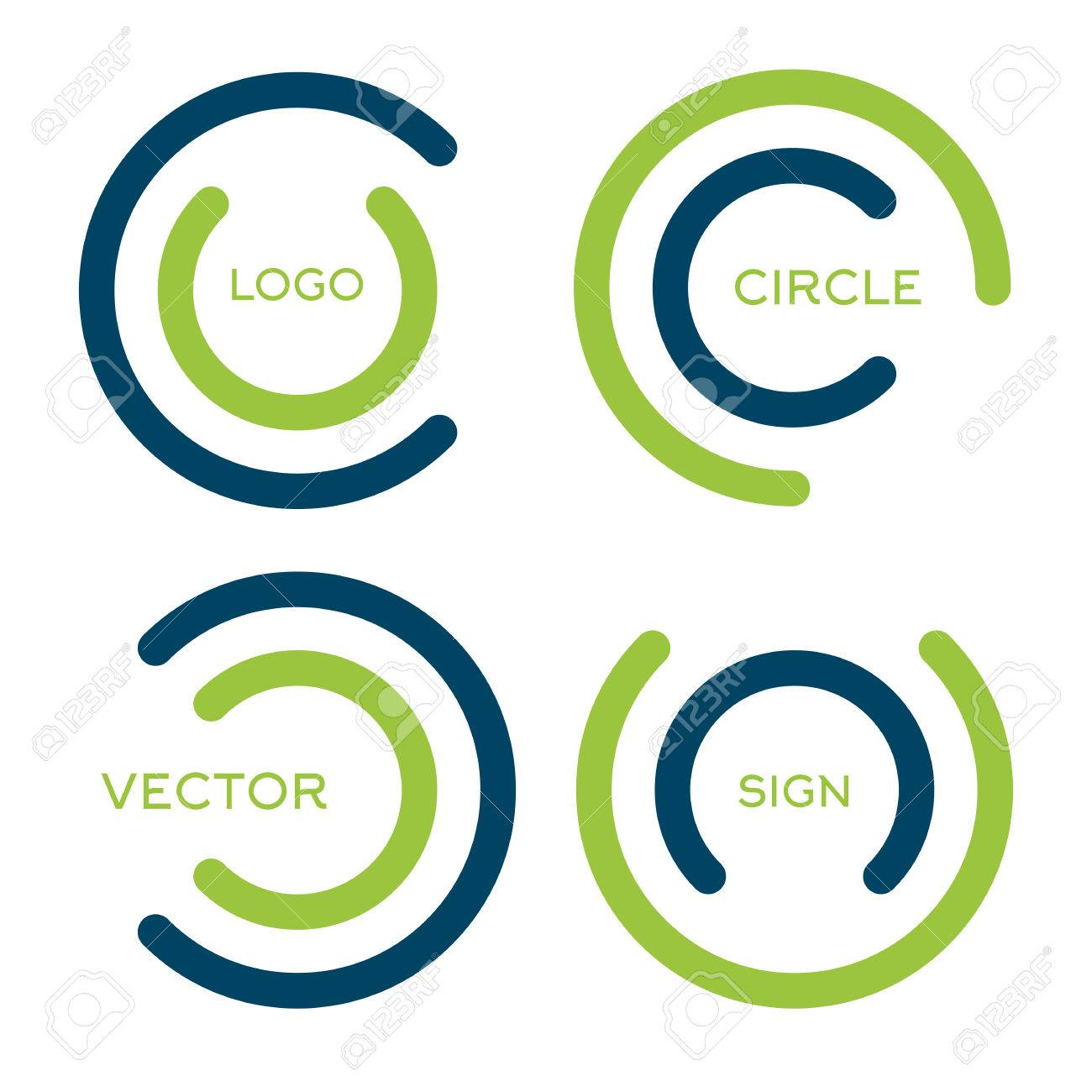 Isolated Abstract Circular Vector Logo Set. Green And Blue Color ...