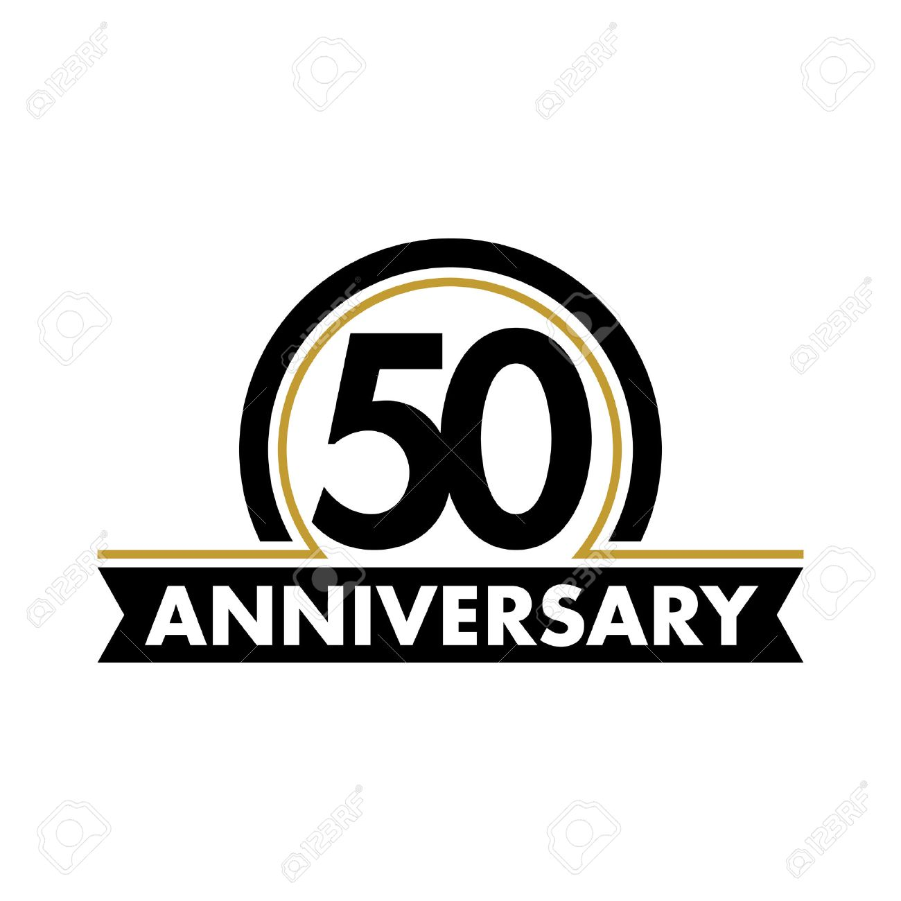 Anniversary vector unusual label. Fiftieth anniversary symbol. 50 years birthday abstract logo. The arc in a circle. 50th jubilee - 61464866