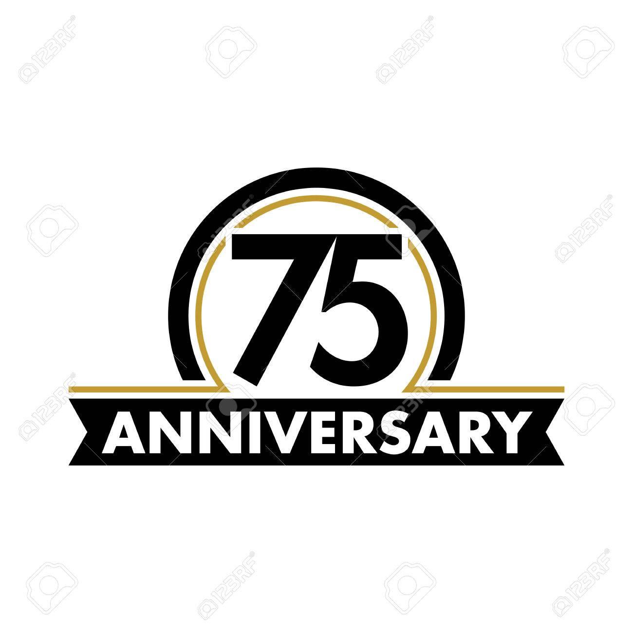 Anniversary Vector Unusual Label Seventy Fifth Anniversary Symbol